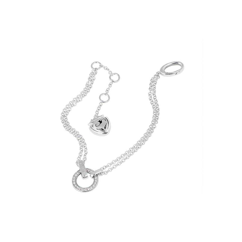 Bracciale 20 cm in oro bianco con cerchio in Diamanti bianchi e scudo traforato