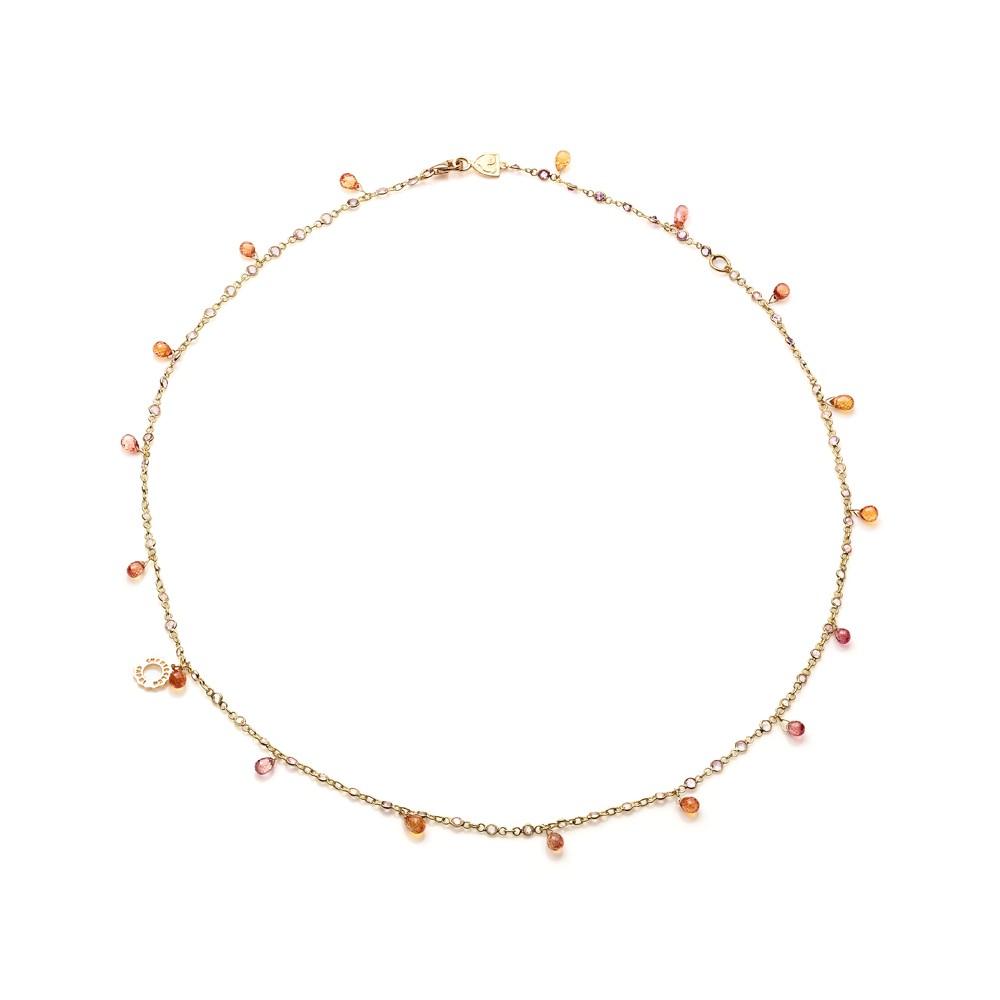Collana 50 cm in oro giallo (con anellino a 45cm) con briolette in zaffiri orange